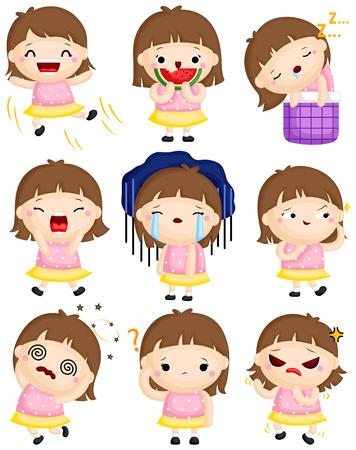 Un conjunto de vectores de niña linda que expresa muchas emociones con sus caras Ilustración de vector