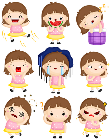 Un insieme vettoriale di una bambina carina che esprime molte emozioni con i suoi volti Vettoriali