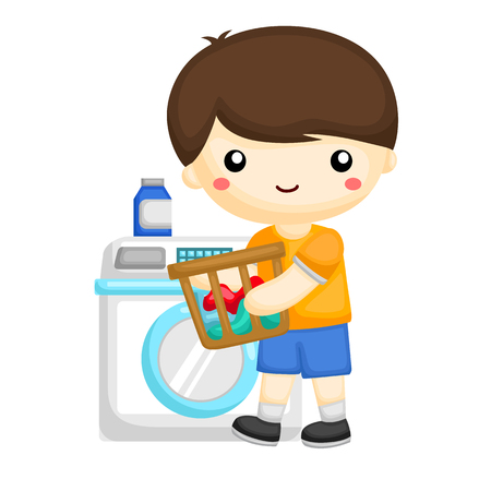 Little boy washing some clothes