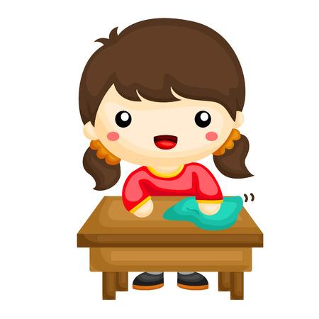 Petite fille essuyant la table