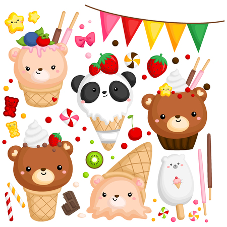 a vector of many ice cream with cute bear on top
