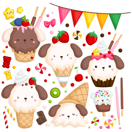 a vector of many ice cream with cute dog on top