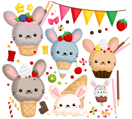 a vector of many ice cream with cute rabbit on top Ilustrace