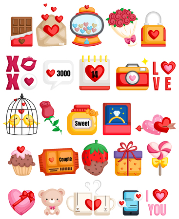 many icon related to couple and love Ilustrace