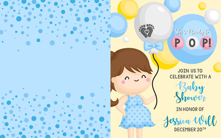 A Simple Baby Shower Invitation Card with Ready to Pop Baby Boy Theme