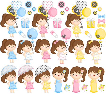 A Vector Set of Pregnant Moms in Various Colors and Actions Ilustrace