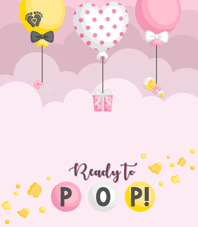 A Baby Card with Ready to Pop Baby Girl Theme in a Simple Pink Cloudy Background
