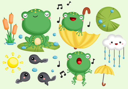 a vector collection of cute frogs and tadpoles Ilustrace