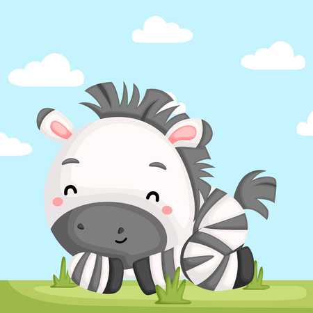 a vector of an adorable zebra relaxing in the grass