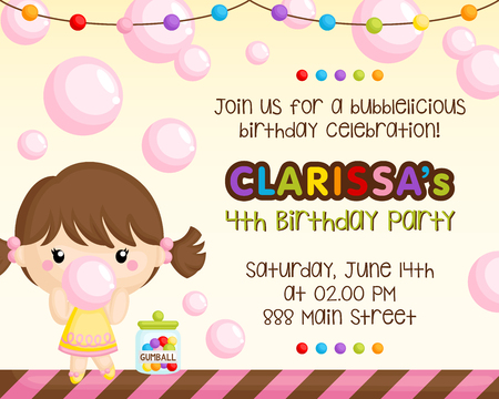 A Birthday Invitation of Cute Girl Chewing Bubblegum with lots of Bubbles Ilustrace