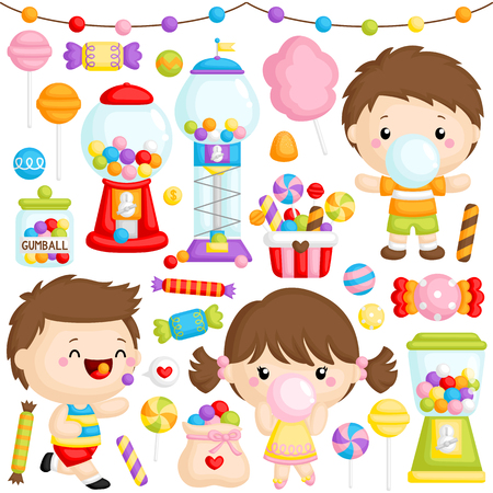 A Vector Set of Cute Girl and Boy Chewing Bubblegum with lots of Bubblegum Machine Ilustrace