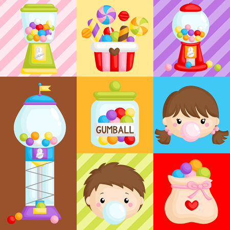 A Vector Composition  of Cute Various Bubblegum Machine and Kids Ilustrace