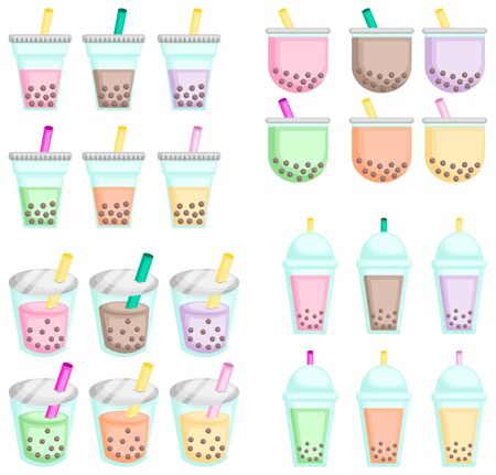 a vector of many flavors of bubble teas