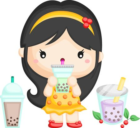 a vector of a cute girl drinking bubble tea Ilustrace