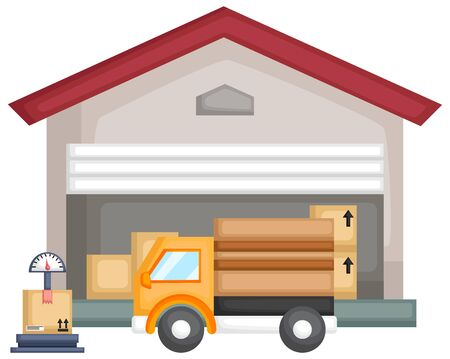 a vector of a warehouse full of package with a truck and scale Ilustrace