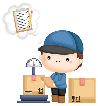 a man managing package with checklist Ilustrace