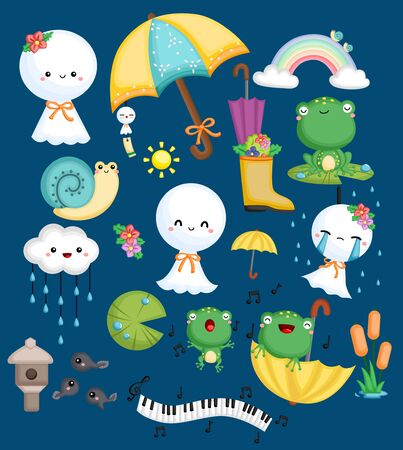 a vector collection of frog, snail, and weather doll