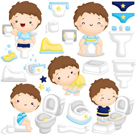 A Vector Set of Cute Boy Learning to Potty Train at the Toilet by Himself