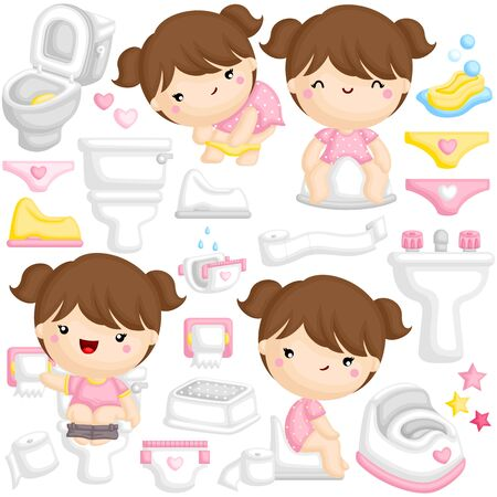 A Vector Set of Cute Girl Learning to Potty Train at the Toilet by Herself Иллюстрация