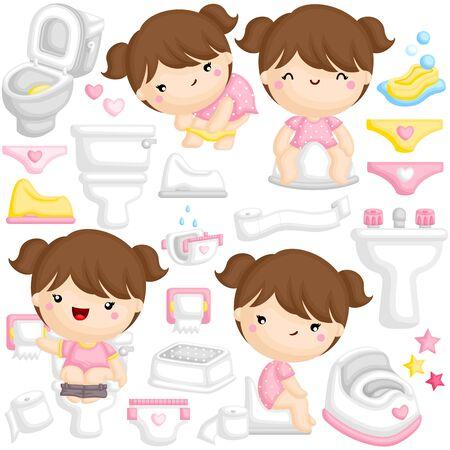 Un conjunto de vectores de linda chica aprendiendo a ir al baño en el baño por ella misma Ilustración de vector