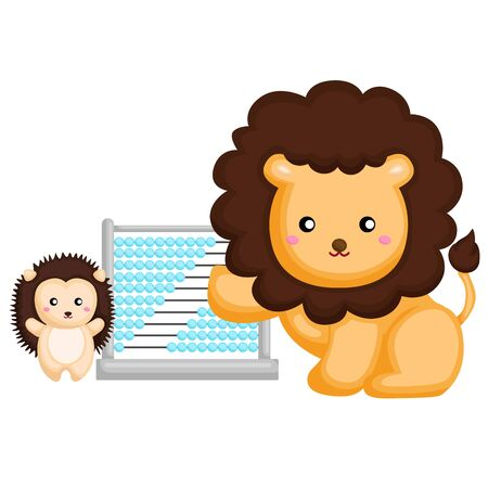lion and porcupine learning with abacus Ilustrace