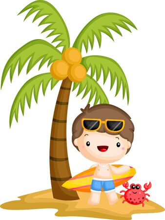 a vector of a surfer standing below a coconut tree