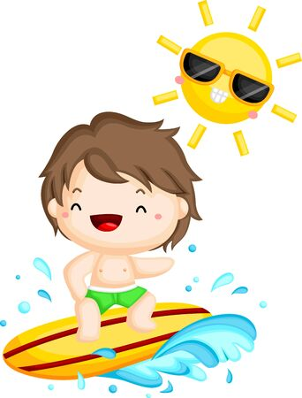 a vector of a surfer surfing under the sun