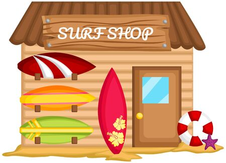 a vector of a surf shack in the beach