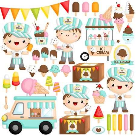 A Vector Set of Cute Boy Ice Cream Seller who is Happily Selling Various Ice Cream Ilustrace