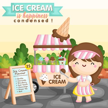 A Vector Set of Ice Cream Cart and the Seller Girl Scooping a Chocolate Ice Cream