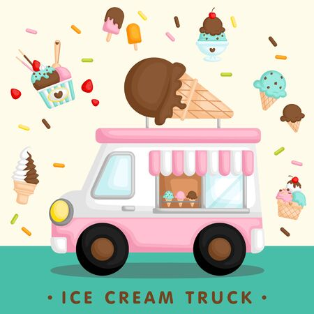 A Vector of Cute Pink Ice Cream Truck with Various Type of Ice Cream 일러스트