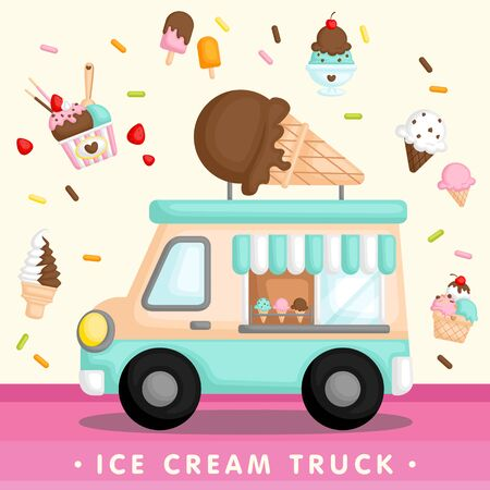 A Vector of Cute Blue Ice Cream Truck with Various Type of Ice Cream