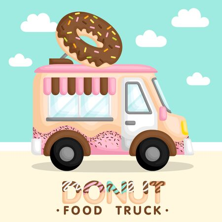 A Vector and Composition of Cute Pink Food Truck Selling Donut