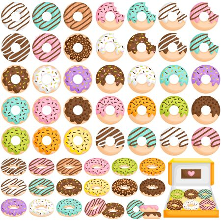 A Vector Set of Cute Little Donut in Various Flavour and Topping Ilustrace