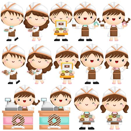 A Vector of Cute Little Boy and Girl Selling and Serving Donut in Various Poses Ilustração