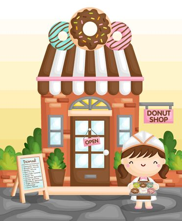 A Vector of Cute Little Girl Selling Donut in Front of a Classic Donut Shop Ilustrace
