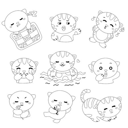 black and white version of various cats expression in its daily life