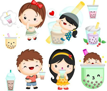 a vector set of a boy and girl with bubble tea