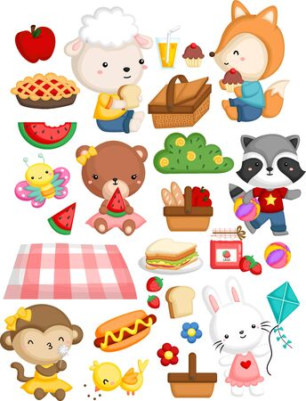 many animal gathering together in a picnic theme Ilustração