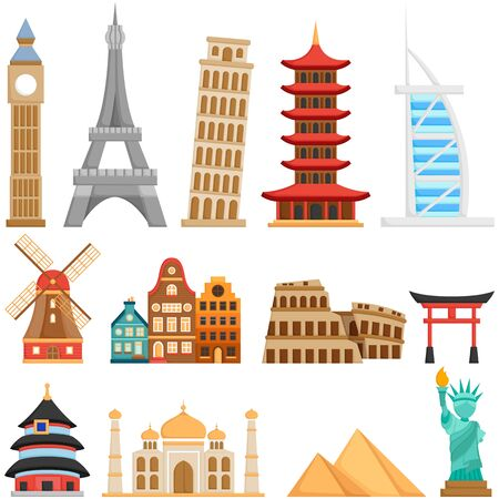 A Vector Set of Cute Landmarks and Buildings all Over The World