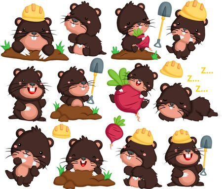 a vector of mole in many poses