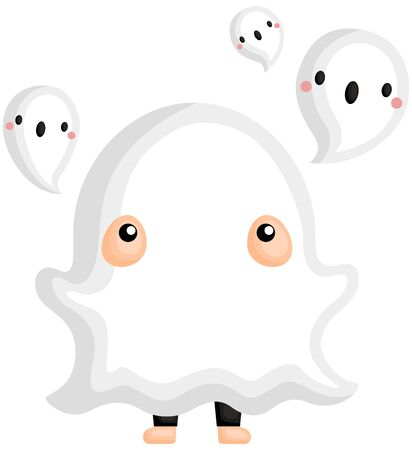 A Vector of Cute Kid in Halloween Ghost Costume Surrounding by Little Ghosts