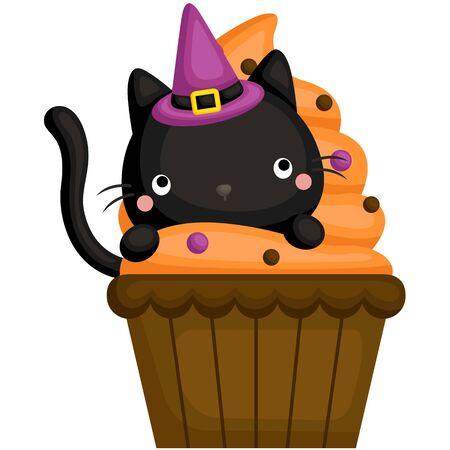 A Vector of Cute Black Cat Hiding Inside a Halloween Cupcake