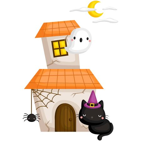 A Vector of Cute Black Cat In Front of a Ghost House under the Moonlight