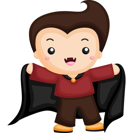 Little boy wearing Dracula costume