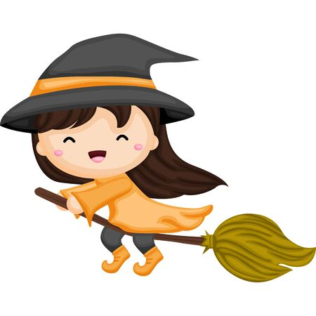 Little witch girl flying with her broom 向量圖像