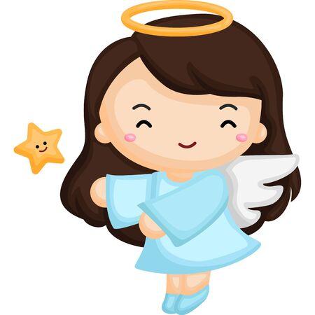Little girl wearing angel costume