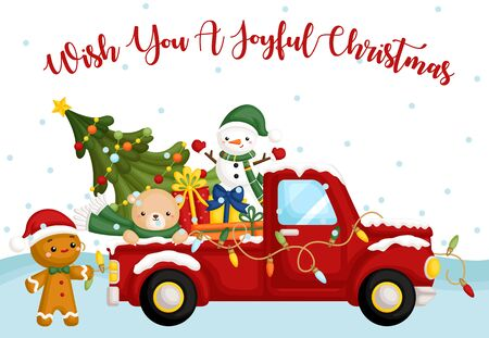 A Vector Card of Cute Christmas Truck Theme with Lots of Christmas Characters and Items