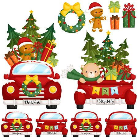 A Vector Set of Cute Red Christmas Truck From Front and Back Side with Lots of Christmas Decoration
