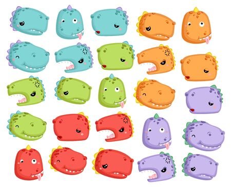 a cute vector of many dinosaur in different colors